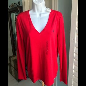 NWT Polo Ralph Lauren Candy apple Red Tee LS